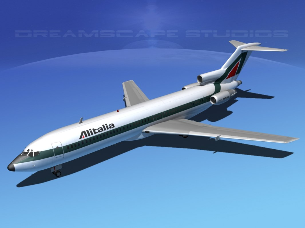 airline boeing 727 727-200 3d max