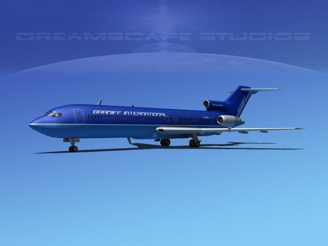 airline boeing 727 727-200 3d obj