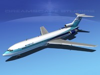 airline boeing 727 727-200 obj