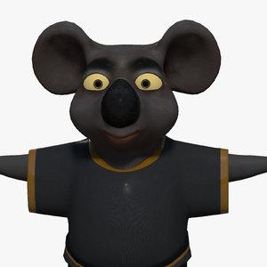 3d model cartoon koala bear rigging character