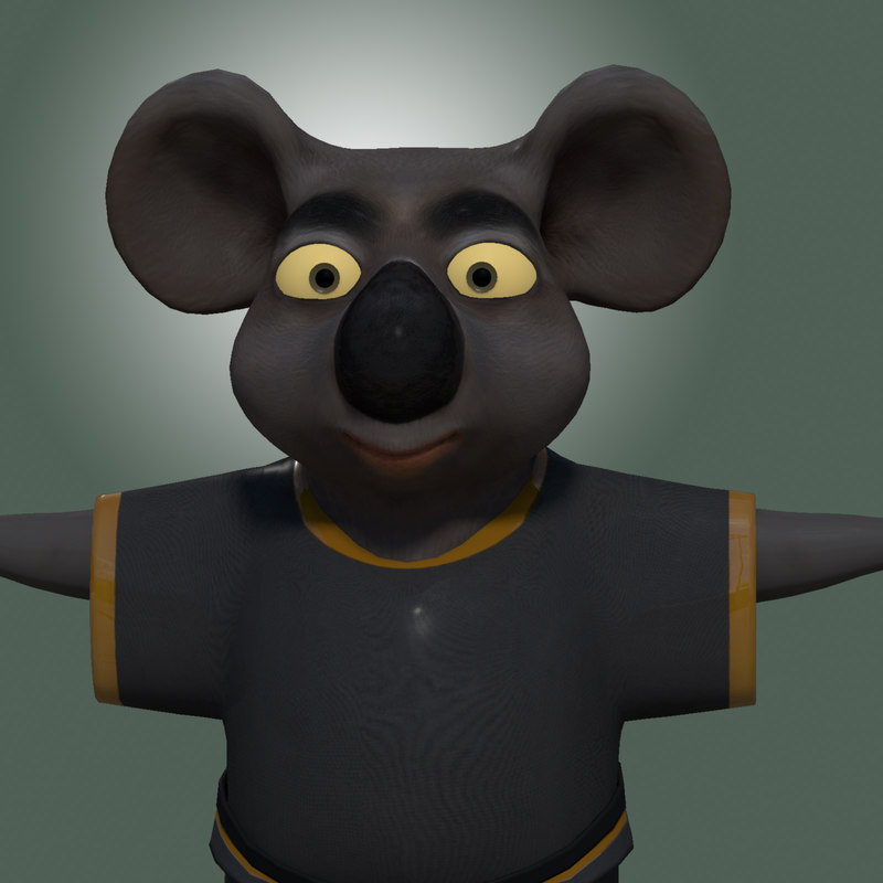 3d model cartoon koala bear rigging character