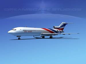 airline boeing 727 727-200 3d 3ds