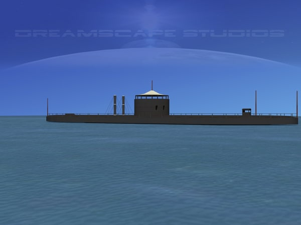 ship uss monitor ironclads 3d 3ds