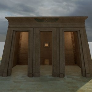 ancient egyptian temple obelisks 3d model