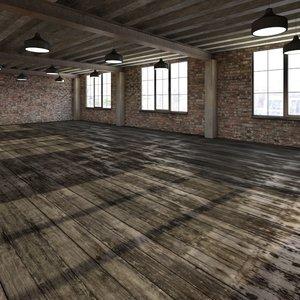 3d obj base loft room scene