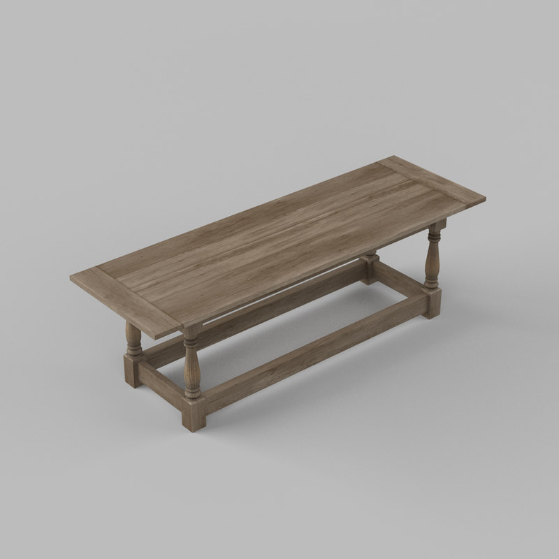 3d 17th century refectory table model