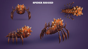 3d spider hand painted model