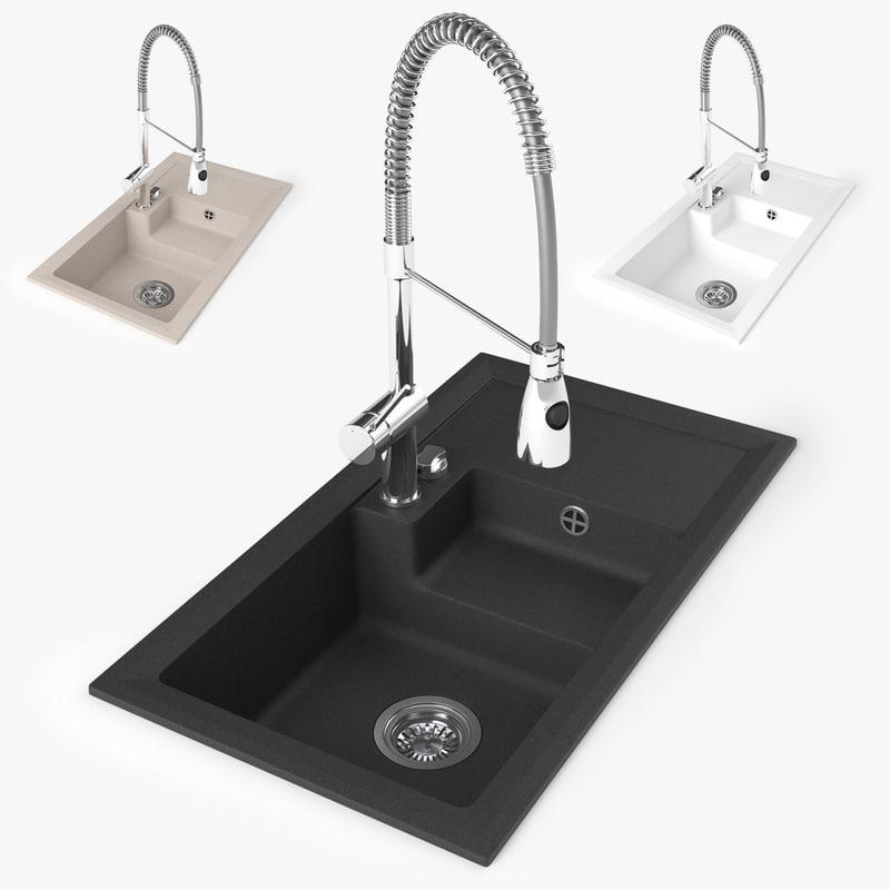 3d model sink kitchen faucet