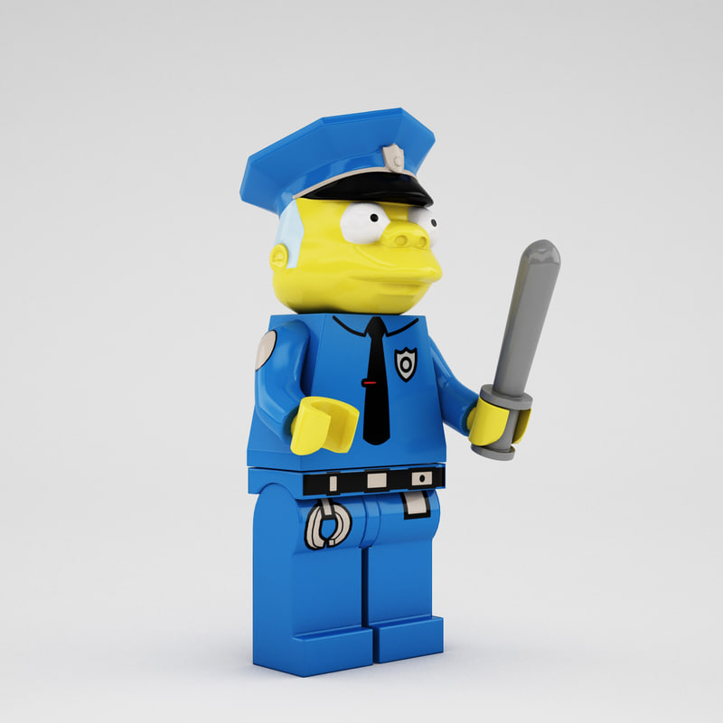 3d model lego chief clancy wiggum