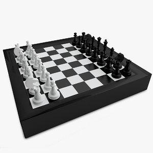3d model chess pawns checker