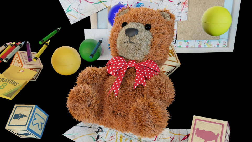3d teddy bear alphabet blocks model