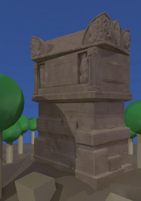 3d roman tomb model