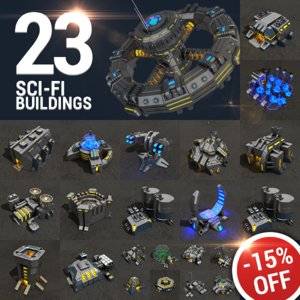 3d model 23 sci-fi buildings pack