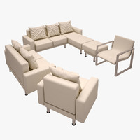 sofa set 3d obj