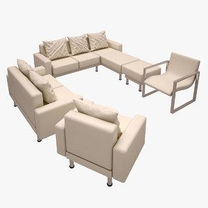 sofa set 3d obj