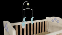 babies cot mobile changing 3d obj