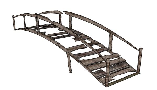 3d simple wooden bridge model