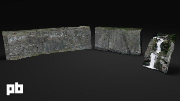 rock waterfall 3d model