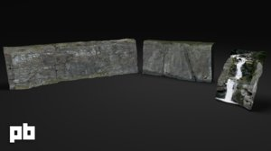 rock waterfall 3d model