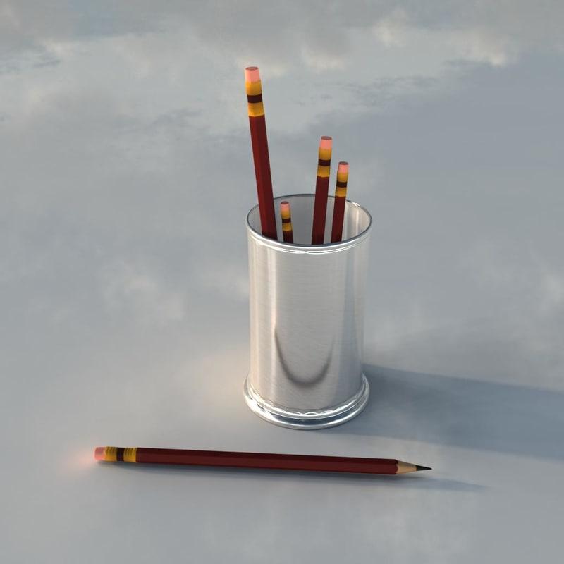 3d pencil pot model