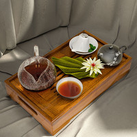 A tray with tea, napkins, mint leaves and lily