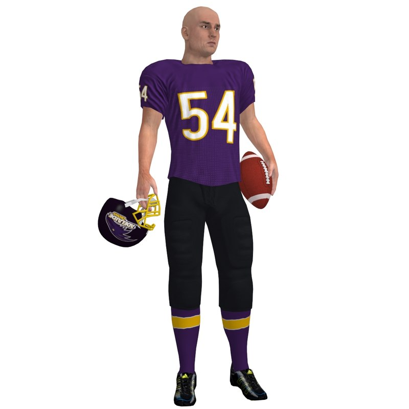 3d model football player rigged