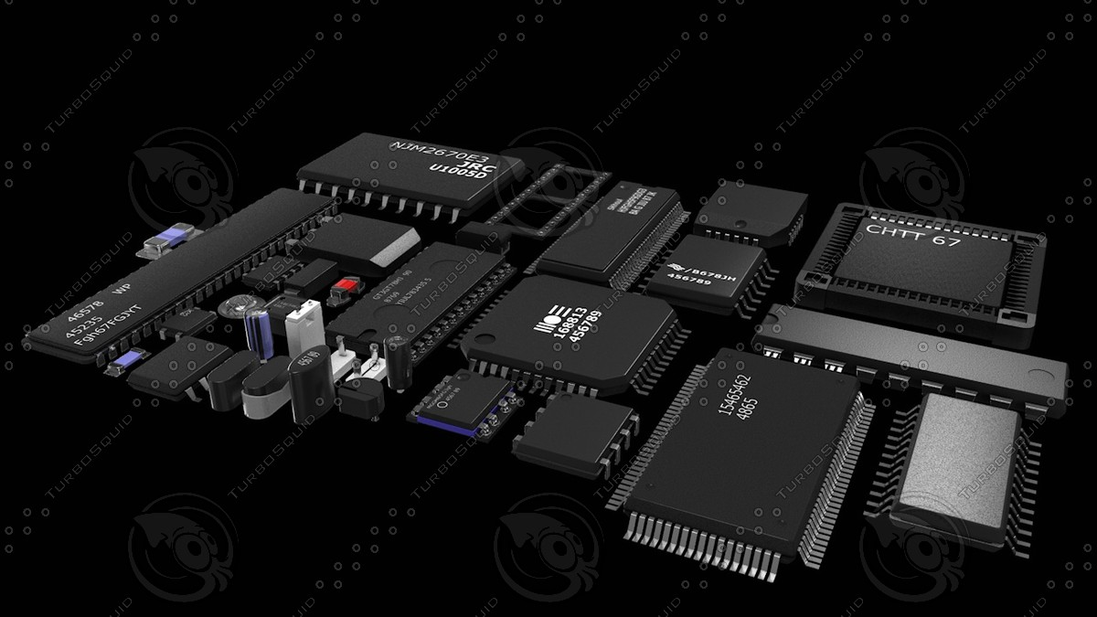 3d model electronic board components