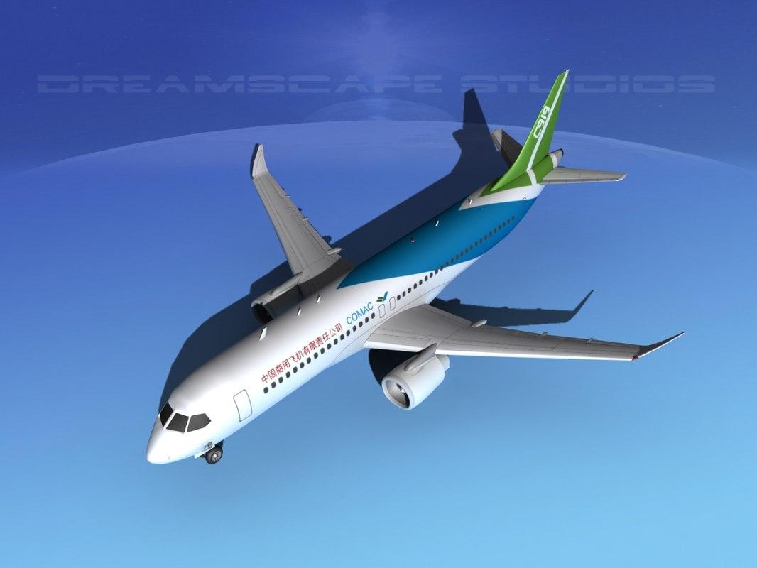 3d comac c919 airliners model