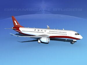 comac airliners shanghai 3d model