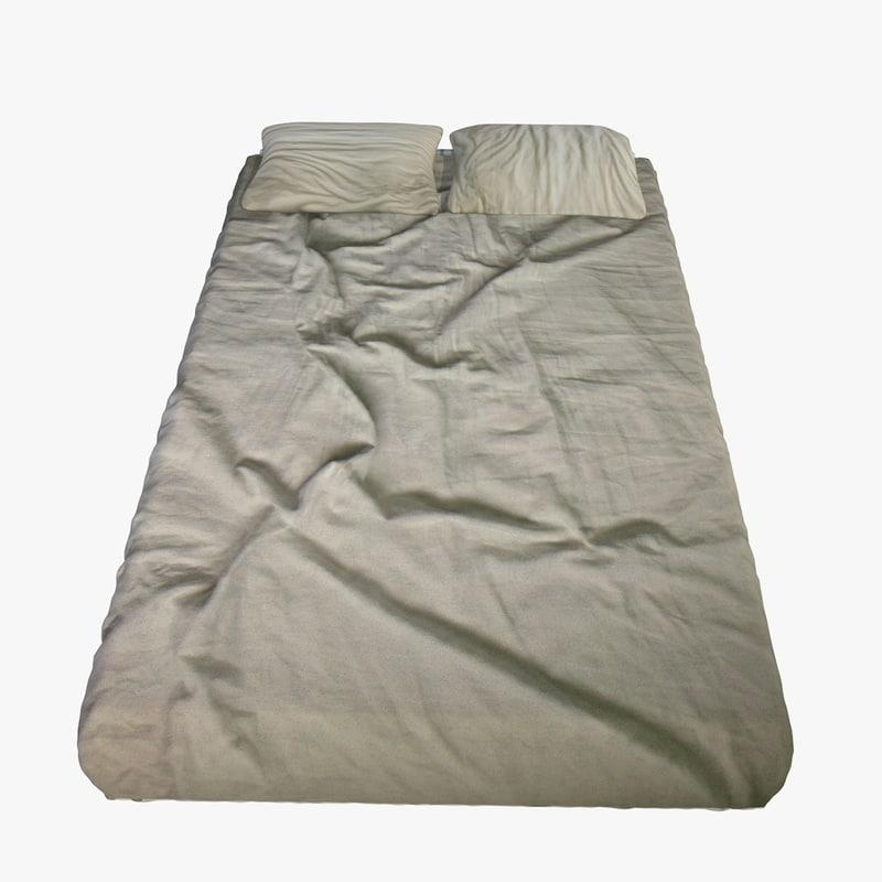 modern bed 2 frame 3d model