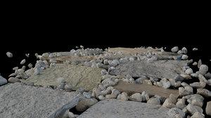3d stones gravel path model