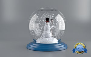 snow globe happy 3d model