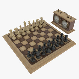 chess clock wood 3d model