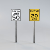 road signs 3d obj