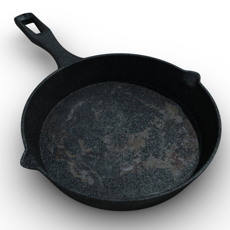 cast iron frying pan 3d obj