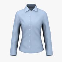 3d model ladies blue shirt