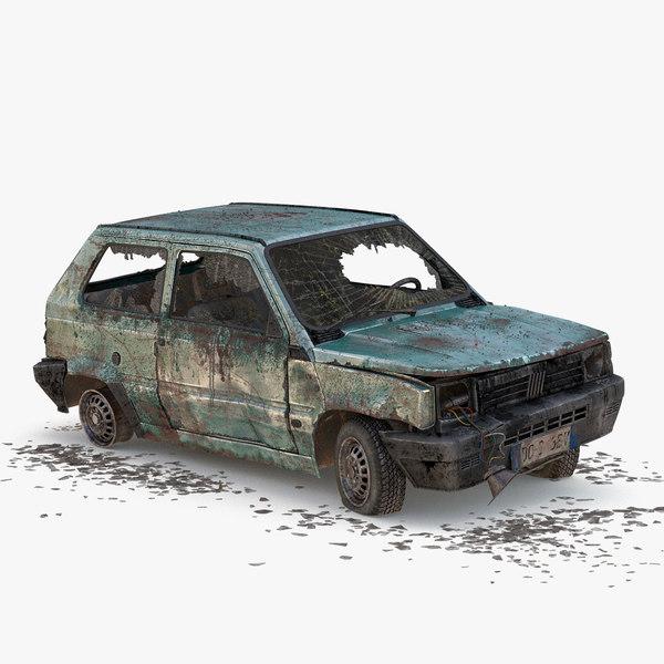 3d wrecked car