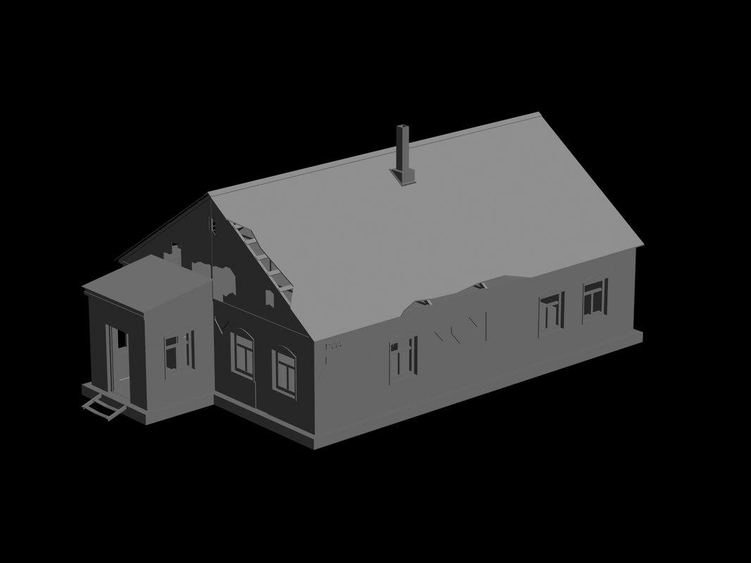 3d model rustic hut