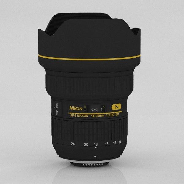 3d model lens nikkor 14-24 2
