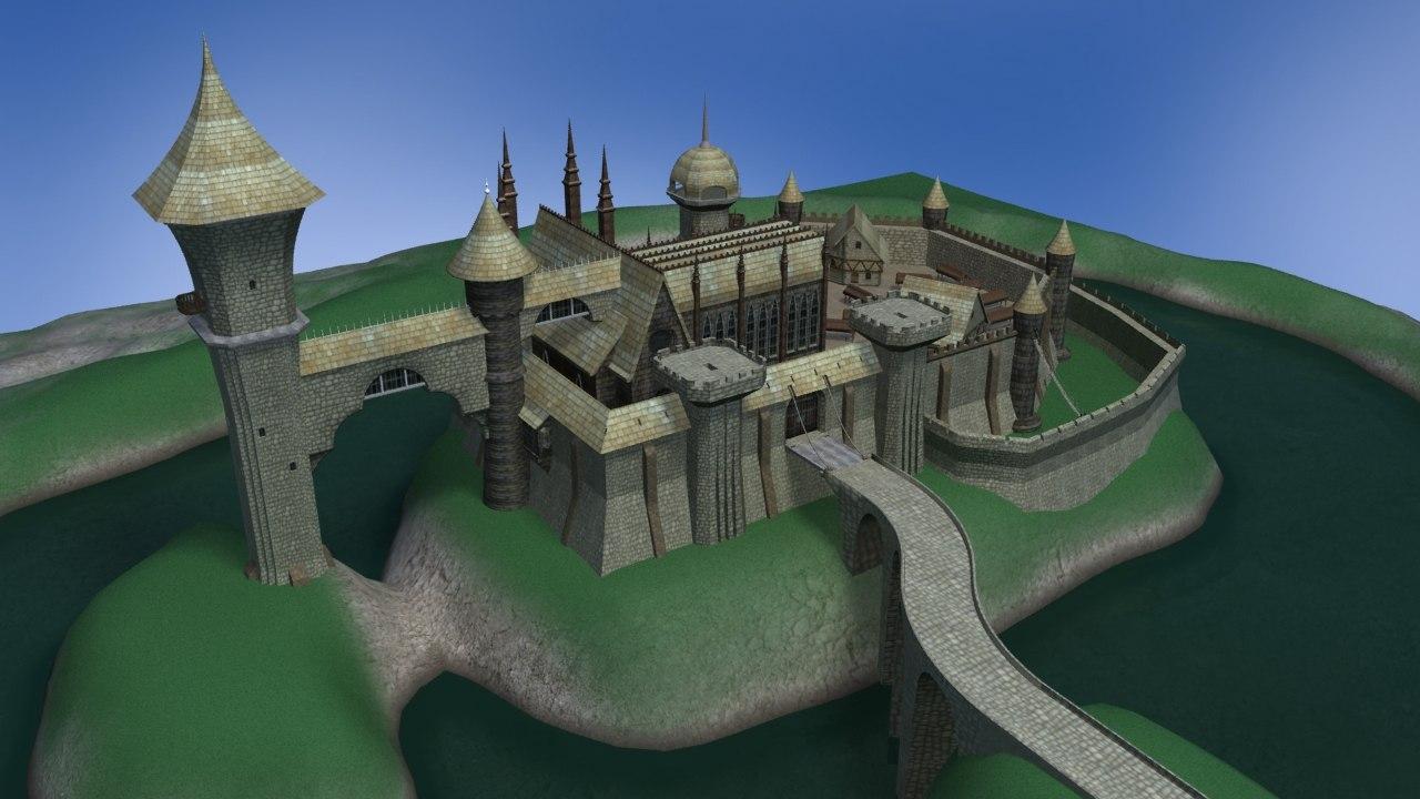 castle houses market 3d model