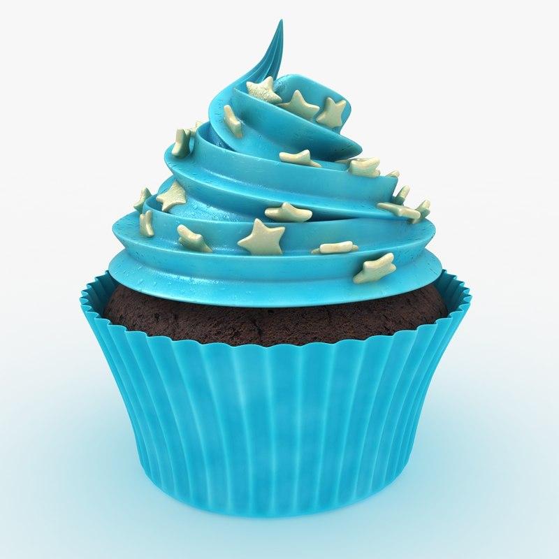 realistic cupcake blue 3d model