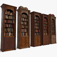 Luxurious Thin Wood Bookcase Set