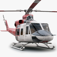 eurocopter bell 412 helicopter interior 3d model