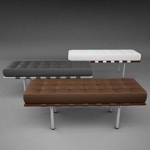 mies van barcelona bench 3d model