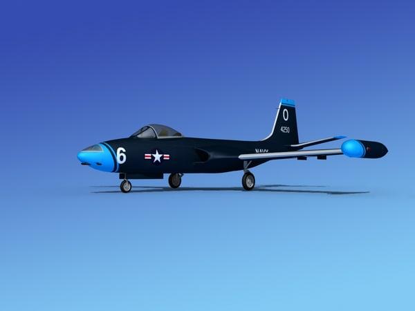 3d cockpit f2h banshee jet fighter