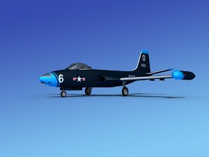 3d cockpit f2h banshee jet fighter