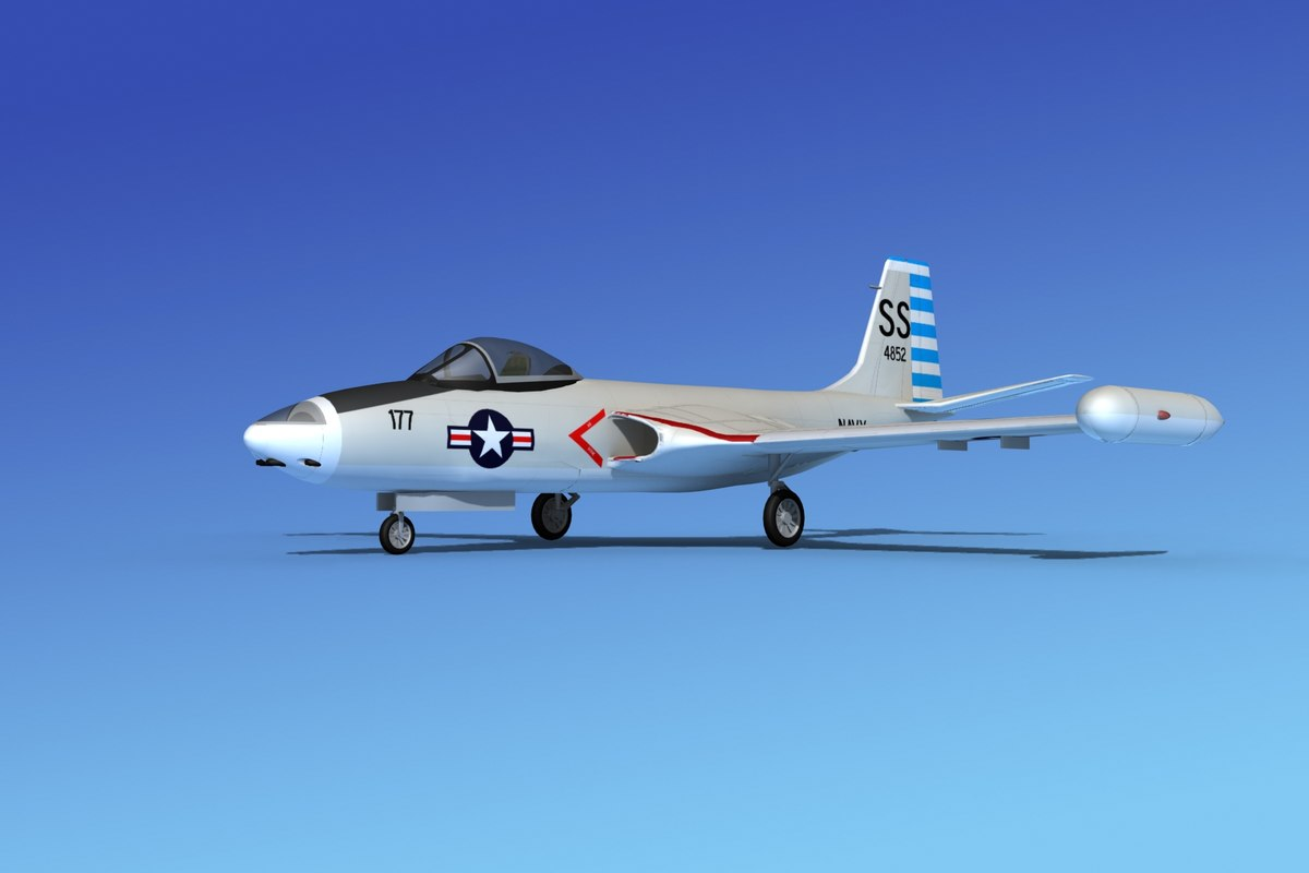 cockpit f2h banshee jet fighter 3d obj
