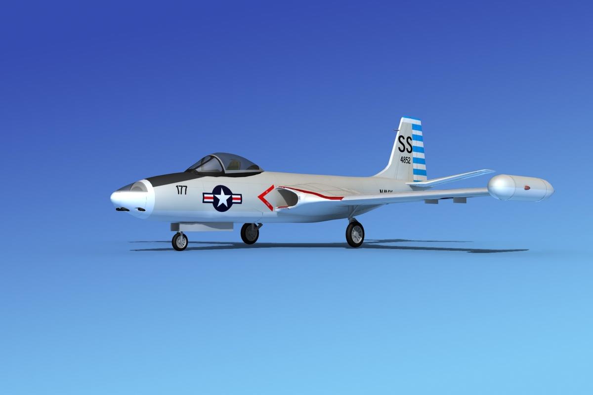 cockpit f2h banshee jet fighter 3d model