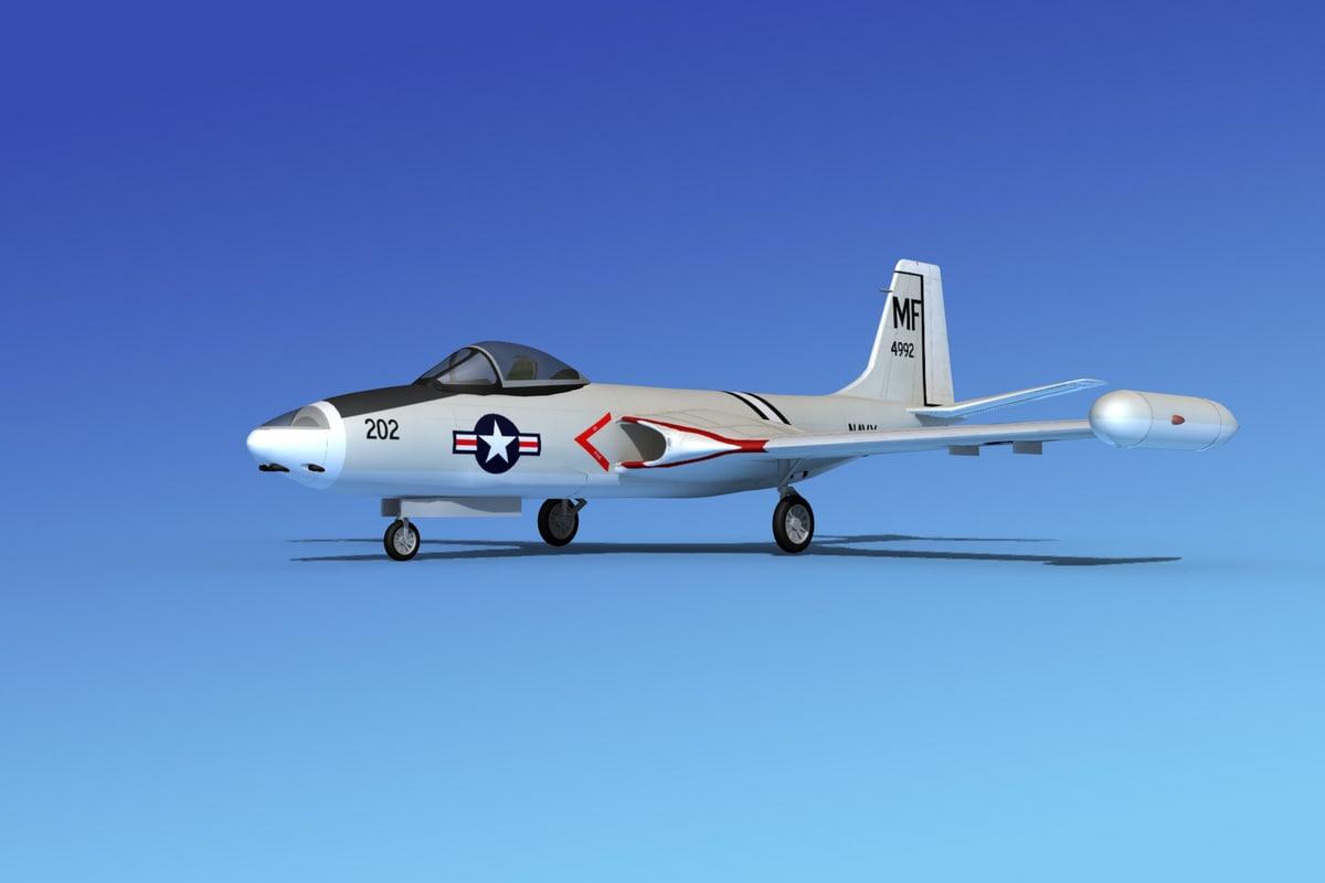 korean f2h banshee jet fighter 3d obj
