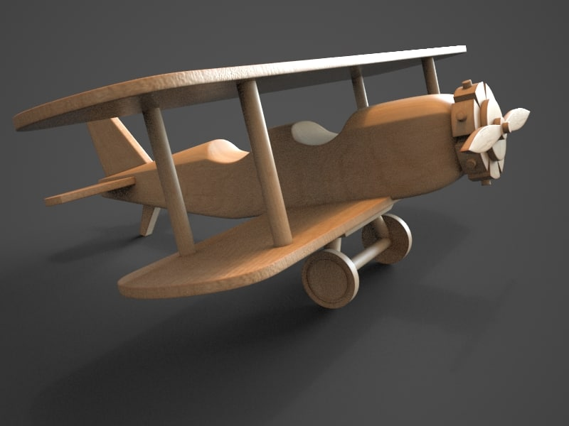 3d model wooden biplane toy